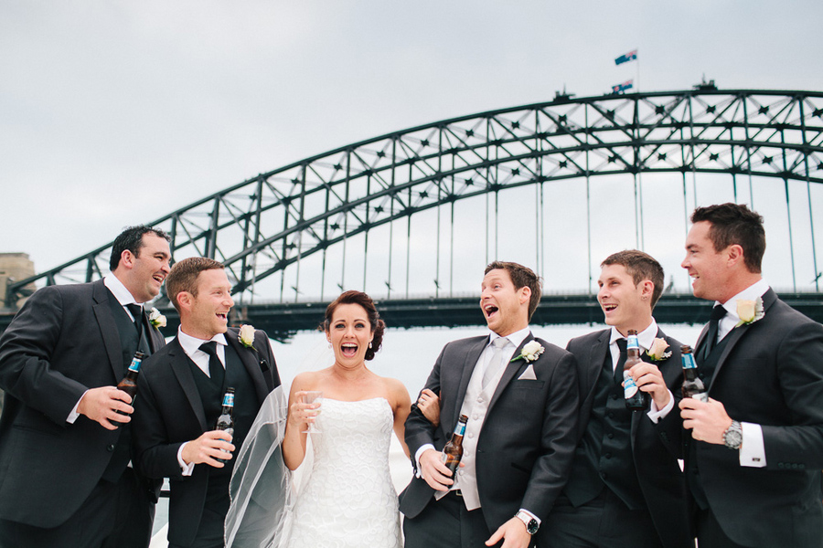 Sydney Harbor Wedding, bridal party boat