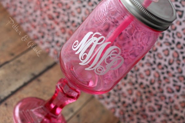 Monogrammed Mason Jar Wine Glass www.PitterandGlink.com