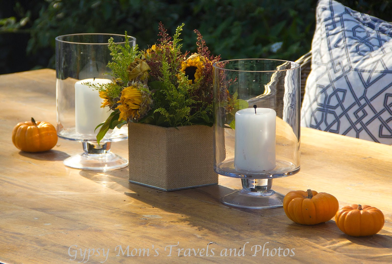 Fall decorations on a table in the front yard of a house in Corona del Mar