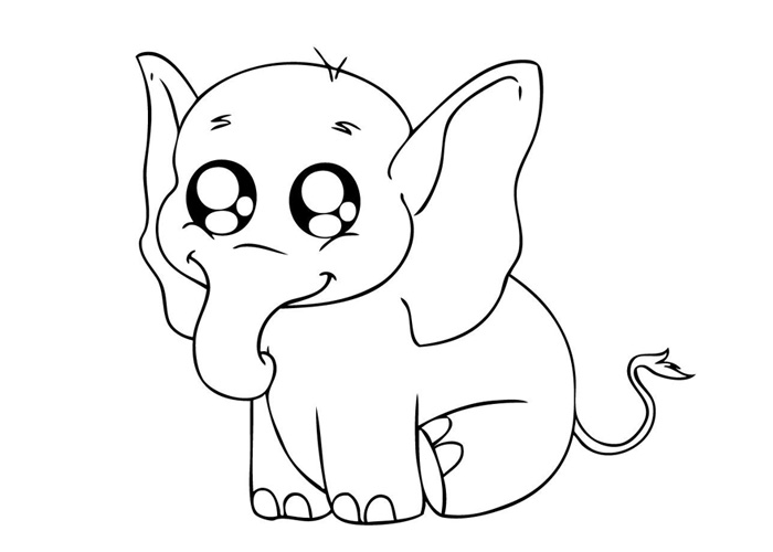 Coloring Pages Baby Animals : Baby elephant coloring pages animal