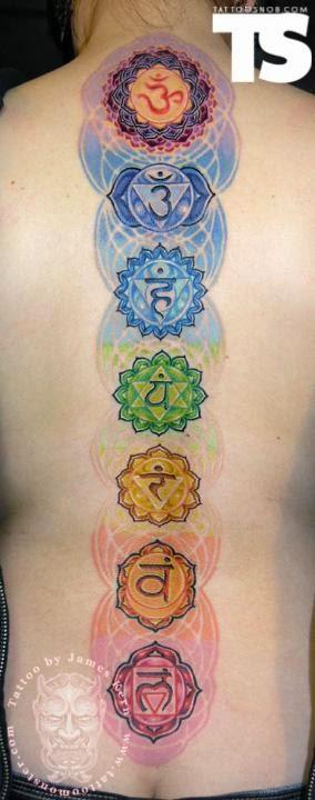 Tatuajes de los chakras en la espalda de una mujer