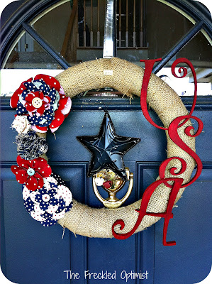 Patriotic Craft Wreath from The Freckled Optimist | Featured on Making the World Cuter
