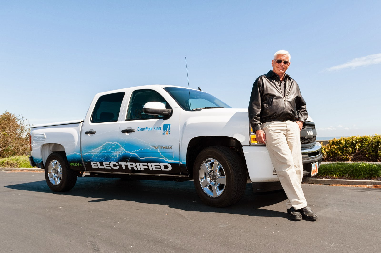 Bob Lutz with an electric Chevy Silverado
