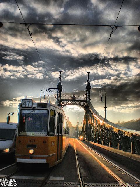tranvia en puente de la libertad de budapest