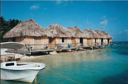 imagem de casas cobertas de palha na beira da praia
