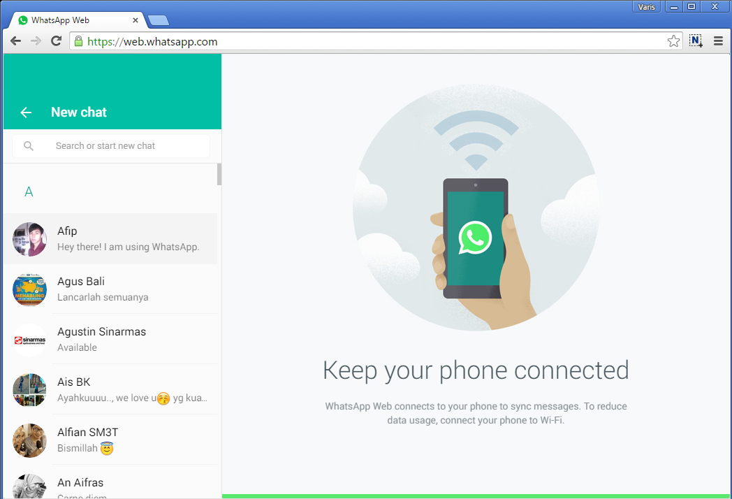 Tampilan list friend WhatsApp versi Web