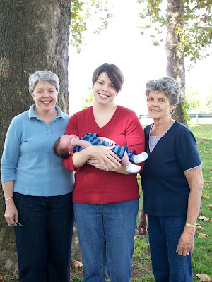 Me, my week-old son, my mom and my grandmother together