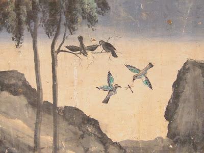 Ramayana mural, birds with dragon fly, Silver Pagoda, Phnom Penh, Cambodia