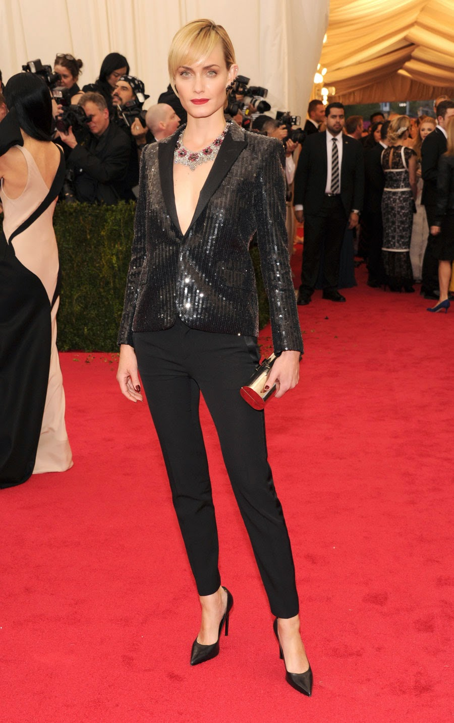 Amber Valletta  in Saint Laurent.