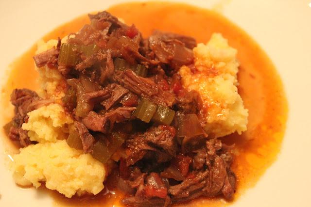 Beef shank sauce over polenta