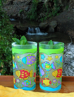 2 Colorful Glasses of Lemonade with Waterfall