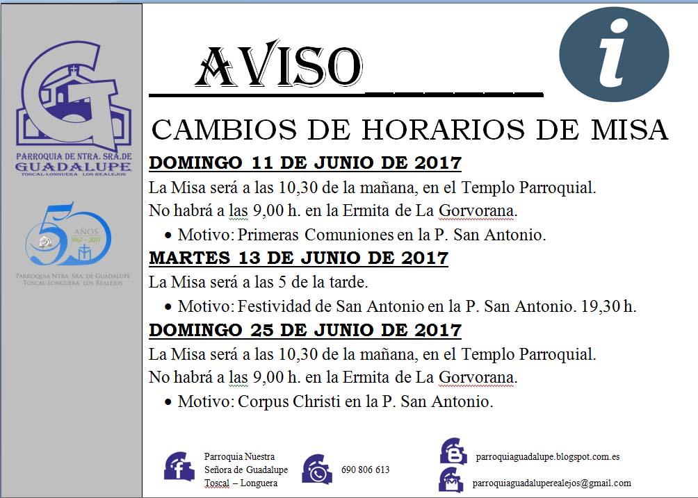Info: Cambio de Horarios de Misas