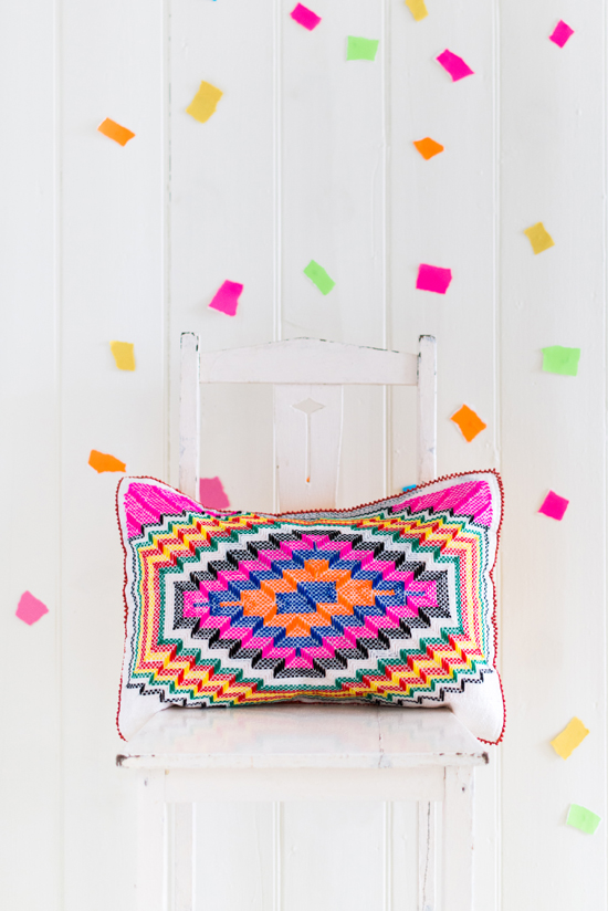 Safari Fusion blog | Langazela Cushions | Chevron design | Bright coloured wool embroidered on recycled corn sacks