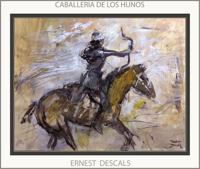 CABALLERIA-HUNOS-PINTURAS-SOLDADOS-EJERCITO-ATILA-PINTURA-ARTISTA-PINTOR-ERNEST DESCALS-