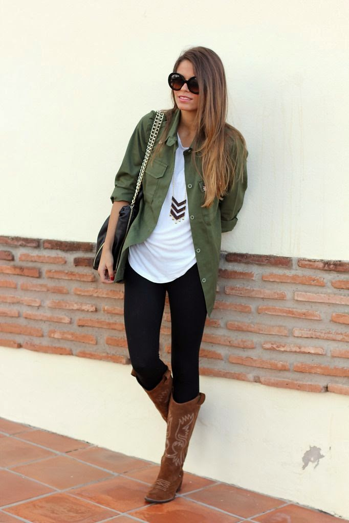 Dark-to-black skinnies, utility jacket