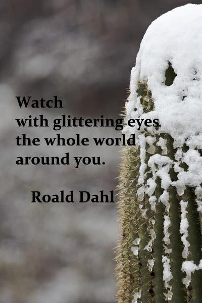 Watch with glittering eyes the whole world around you.