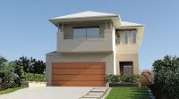 foto de fachada de casa moderna con garaje en frontis