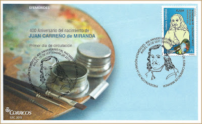 Sobre con el matasellos de Presentación del 400 Aniversario del nacimiento de Carreño Miranda