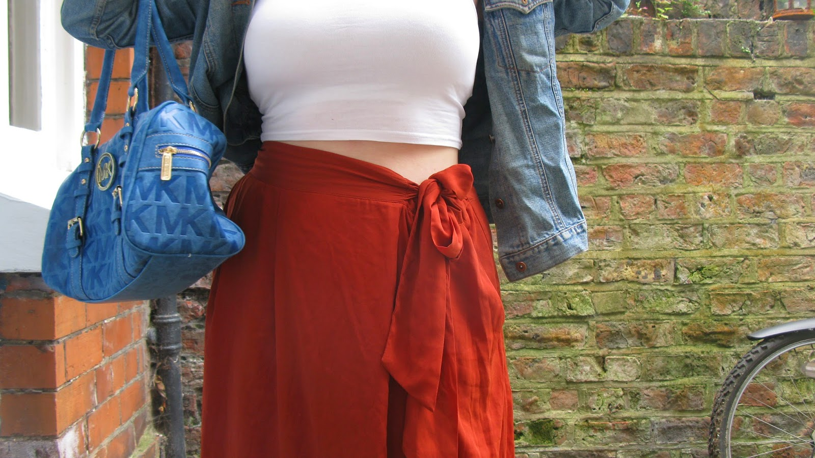 Orange maxi skirt, White crop top, Denim jacket, Blue bag uk fashion blog