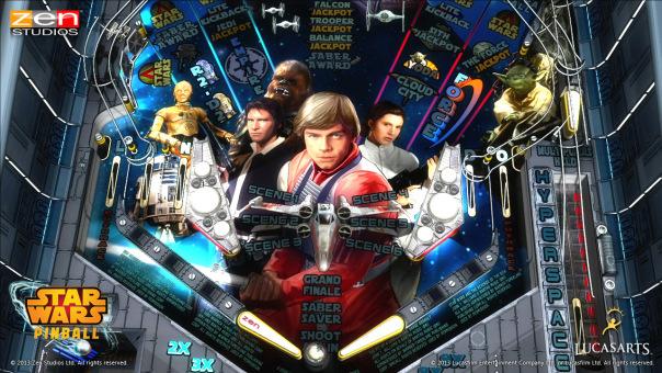 Screenshot of Star Wars pinball table in video game Zen Pinball 2