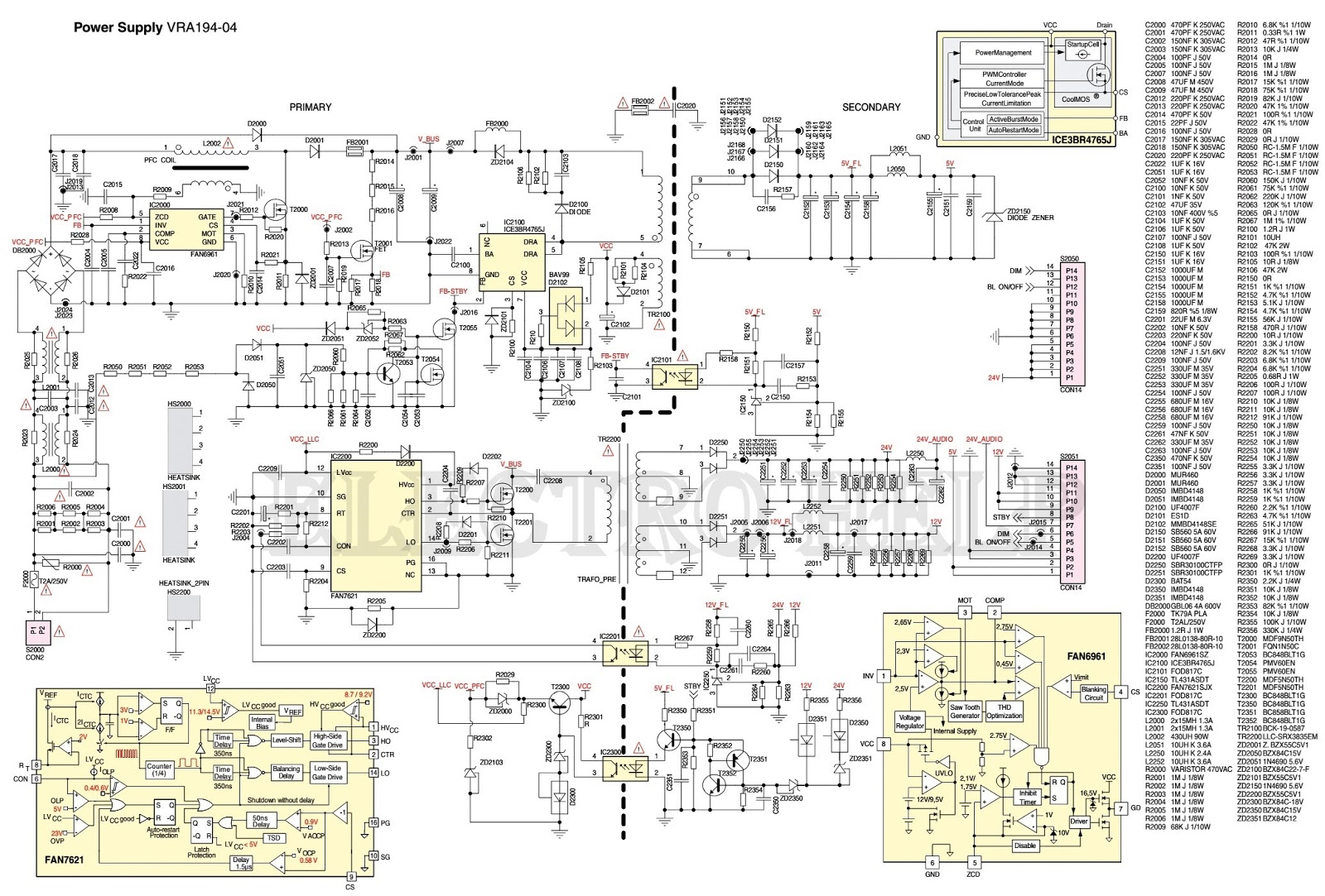 GRUNDIG LCD TV Power Supply VRA194-04 SMPS CIRCUIT DIAGRAM ...