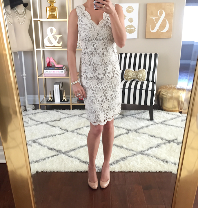 Ann Taylor scalloped lace dress Christian Louboutin simple 100 nude pumps