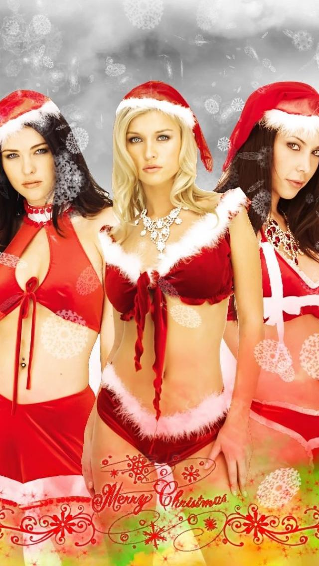iPhone 5/5s Santa Christmas Girls Wallpaper