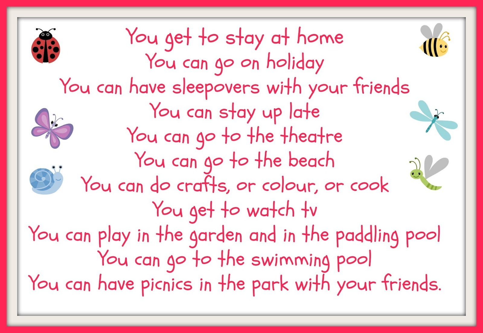 Good Things About The Summer Holidays