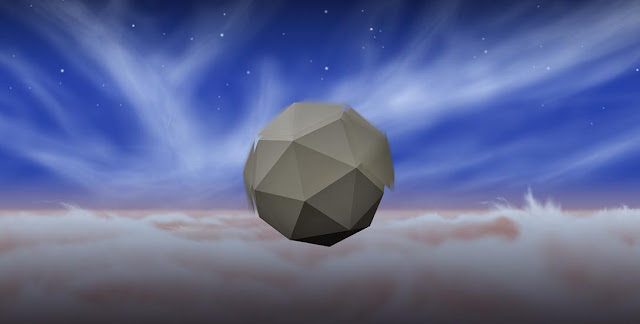 An artist's rendering shows a windbot bobbing through the skies of Jupiter, drawing energy from turbulent winds there. This notional windbot is portrayed as a polyhedron with sections that spin to absorb wind energy and create lift, although other potential configurations are being investigated. Image credit: NASA/JPL-Caltech