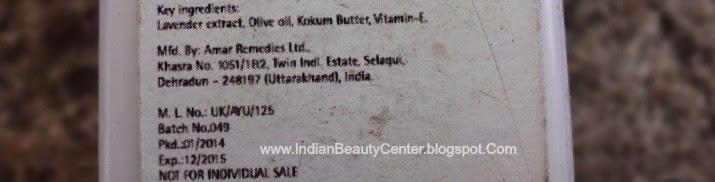 The Nature's Co Lavender Body Lotion Ingredients
