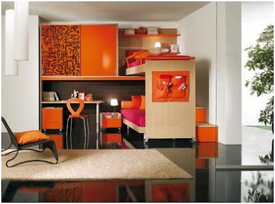 ORANGE BEDROOMS FOR CHILDREN LOFT STYLE – DORMITORY FOR YOUNG PEOPLE