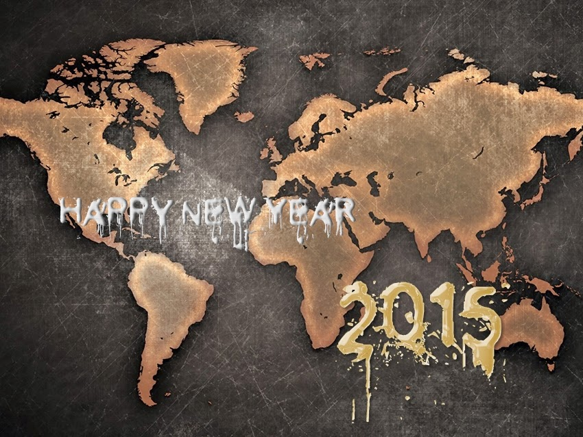World Glob Map Happy New Year Wallpapers 2015