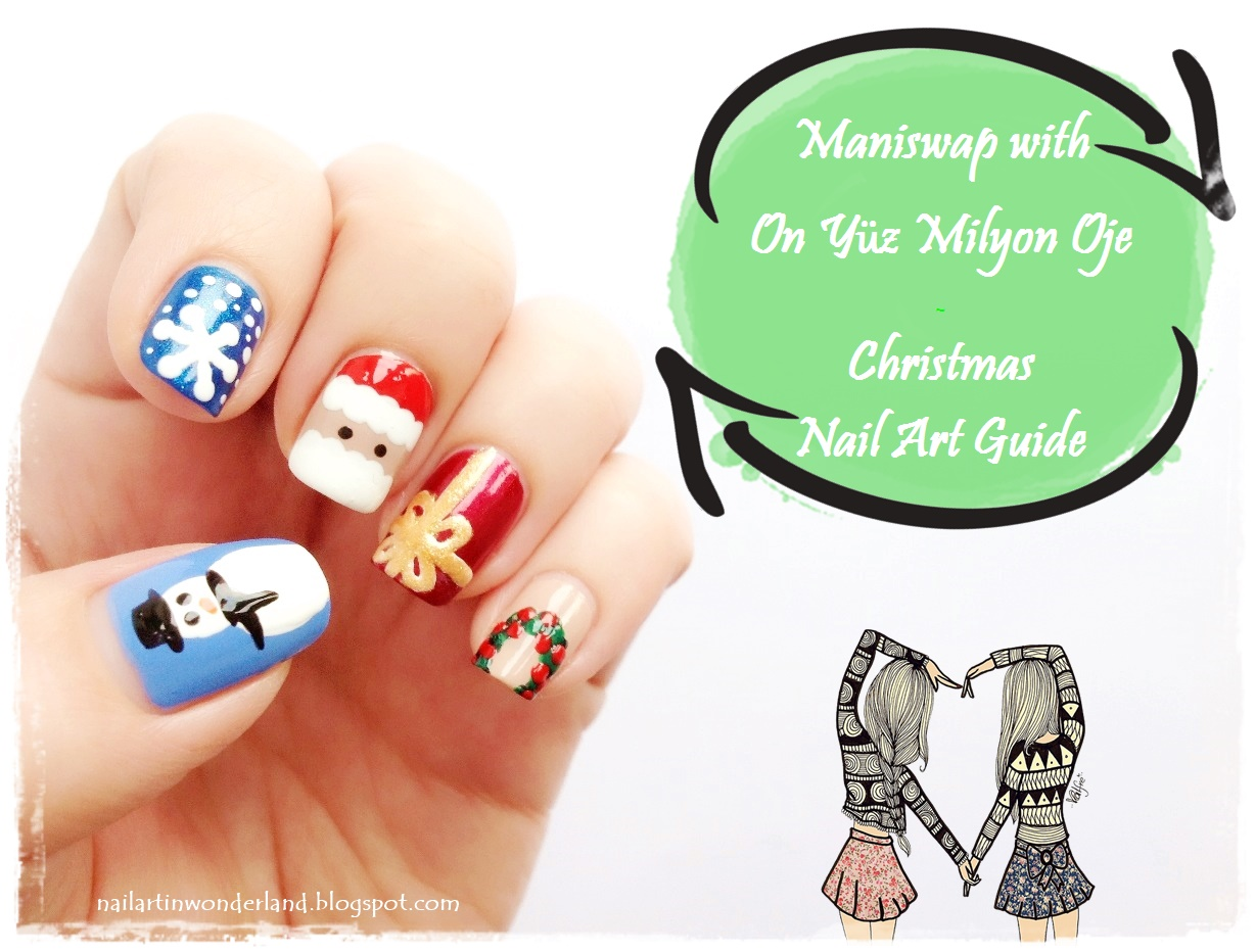ManiSwap: Christmas nail art guide - snowman, snow, Santa, gift, wreath nail designs