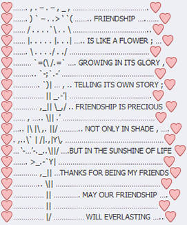 Friendship text art with Facebook emoticons