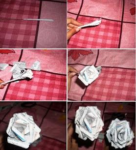 Bunga Mawar dari Kerajinan Koran Bekas