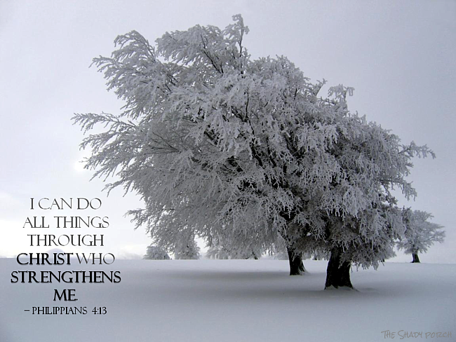 Snowy Scene Philippians 4:13 I Can Do All Things Through Christ