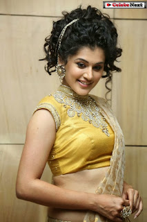 Actress Tapsee Pannu Pictures in Golden Saree at Elite Designer Fashion Show 0010