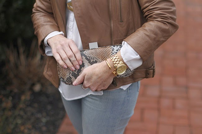 tan leather jacket, jbrand distressed jeans, kate spade heels, prada sunglasses, vita fede bracelet, michael kors ring, hobo snake clutch