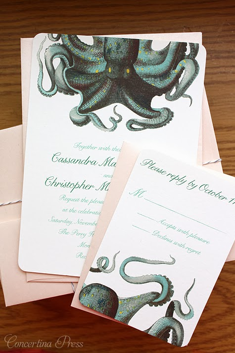 Octopus Wedding Invitations with Blush Pink Envelopes from Concertina Press