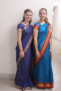 White girls in traditional Indian attire.