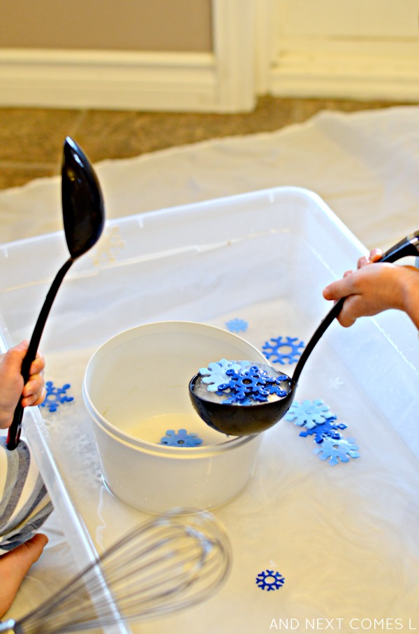 Fine motor practice with scented snowflake water sensory play from And Next Comes L