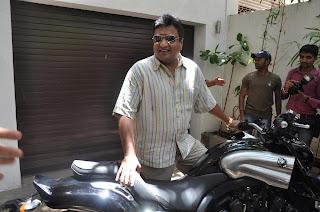John Abraham Gifts a Yamaha VMax to Sanjay Gupta