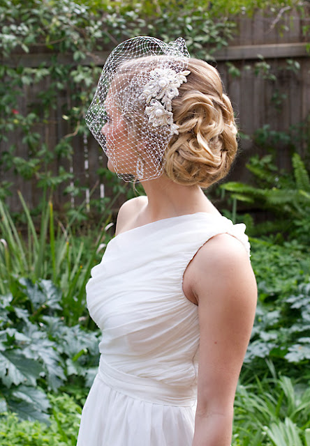 "Bridal Lace Headpiece with Birdcage veil - ""Lillian Headpiece"""