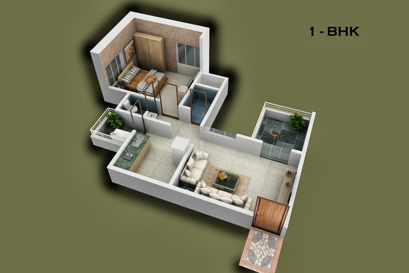 1 Bhk Flats Floor Layouts