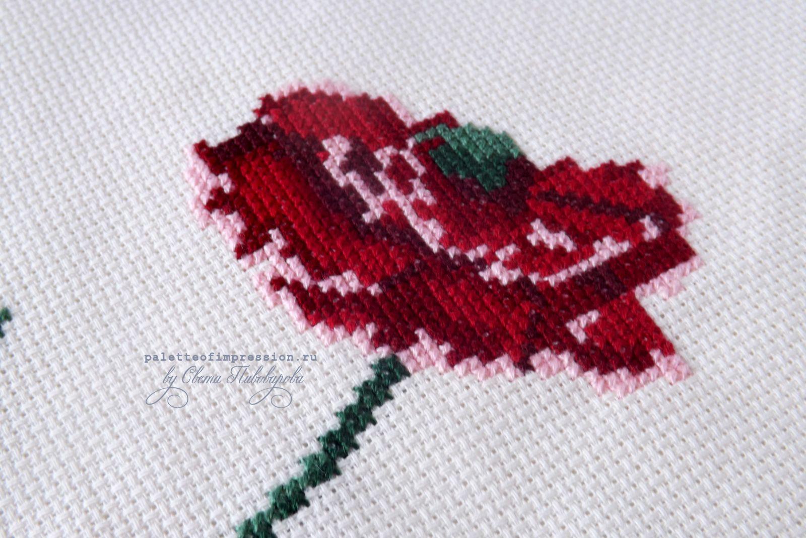 Букет цветов, бабочка и птичка. Вышивка крестом. Блог Вся палитра впечатлений