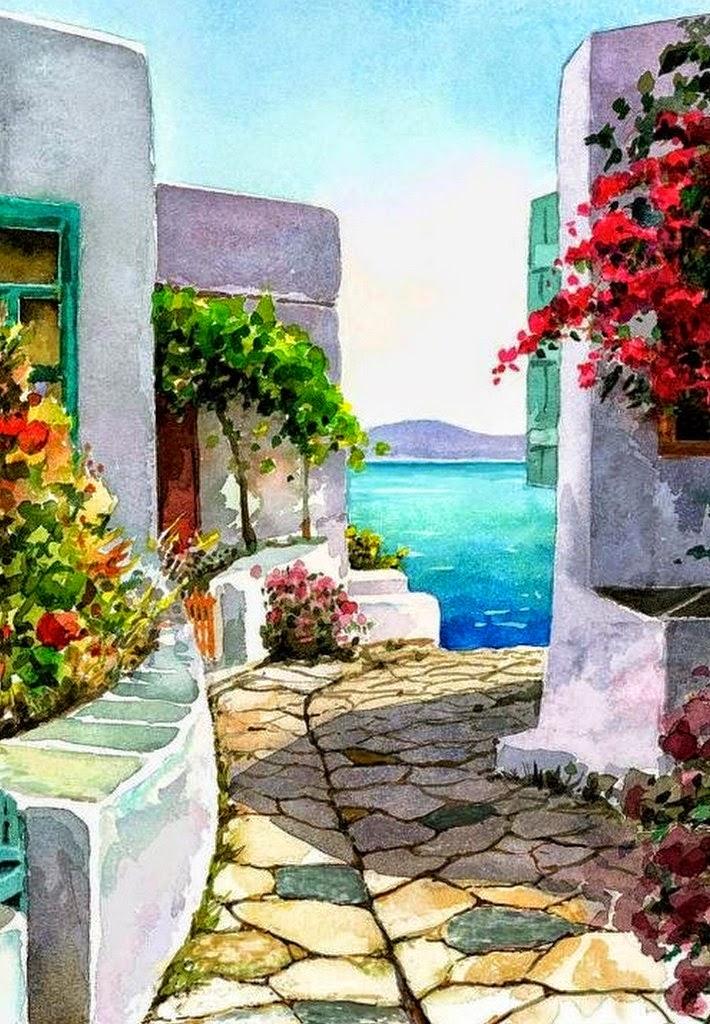 Cuadros pinturas oleos cuadros de balcones y patios con for Balcones con plantas