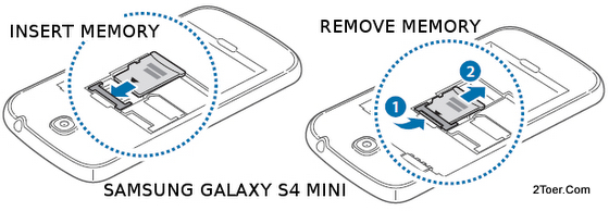 Samsung Galaxy S4 Mini GT-I9190 GT-I9192 GT-I9195 Insert and Remove microSD Memory Card