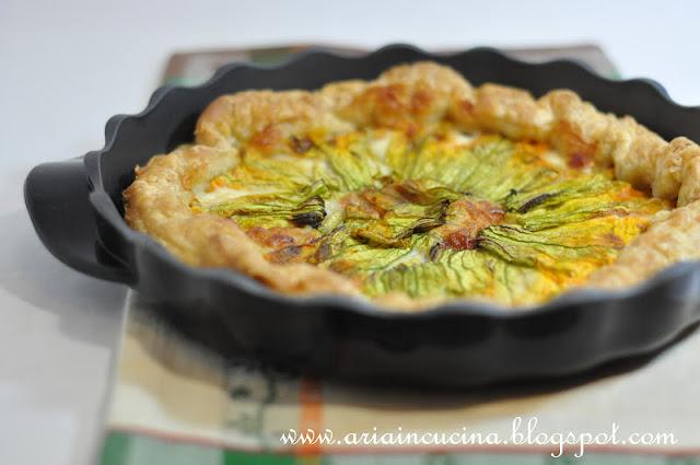 Blog di cucina di Aria: Finta sfoglia di Kamut con fiori di zucca e crescenza