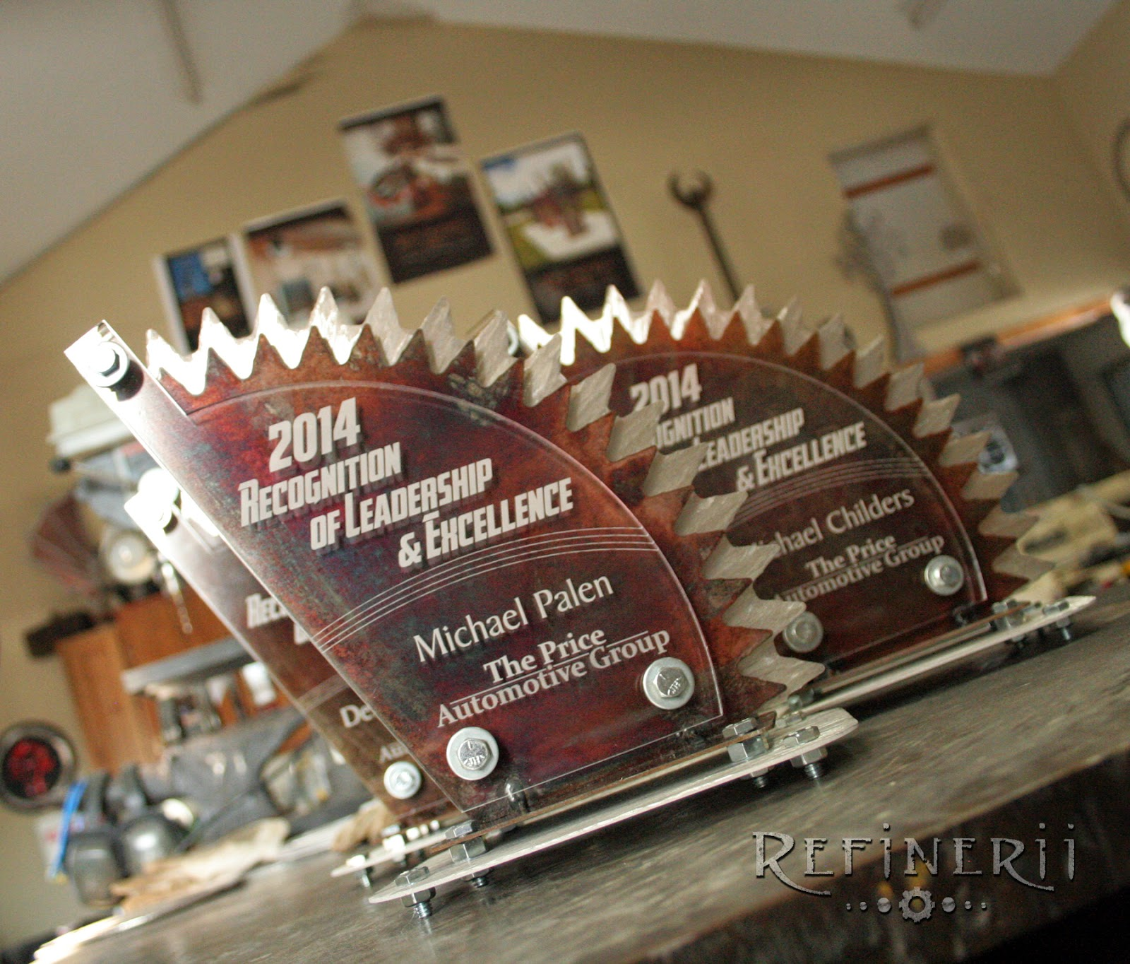 Custom Metal Sprocket themed trophies www.refinerii.com