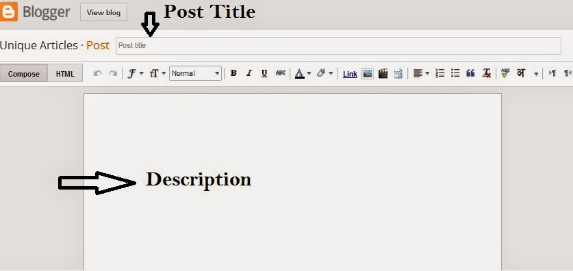 How to Create a first post on Blogger |Blogger New Post